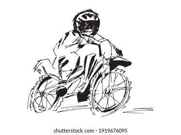 Illustration d'art étiré noir et blanc pour motocycliste