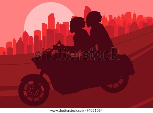 Motorbike Riders Motorcycle Silhouette Skyscraper City Stock