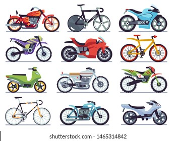 Motorbike set. Motorcycles and scooters, bikes and choppers. Speed race and delivery retro and modern vehicles flat vector motor transport detail sports road moto collection