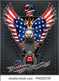 Motorbike and Skeleton Rider With American Eagle USA flag