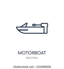 motorboat icon. motorboat linear symbol design from Nautical collection. Simple outline element vector illustration on white background.