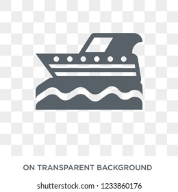 motorboat icon. Trendy flat vector motorboat icon on transparent background from Nautical collection.