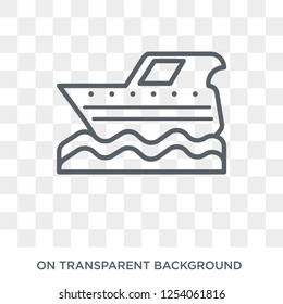 motorboat icon. Trendy flat vector motorboat icon on transparent background from Nautical collection. High quality filled motorboat symbol use for web and mobile