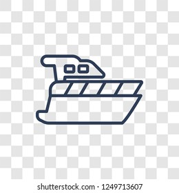 motorboat icon. Trendy linear motorboat logo concept on transparent background from Nautical collection