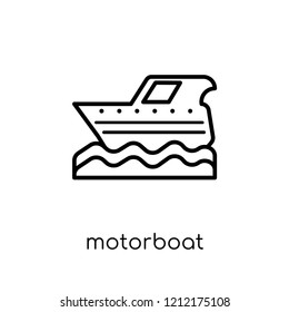 motorboat icon. Trendy modern flat linear vector motorboat icon on white background from thin line Nautical collection, editable outline stroke vector illustration