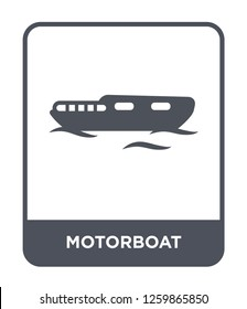 motorboat icon vector on white background, motorboat trendy filled icons from Nautical collection, motorboat simple element illustration, motorboat simple element illustration