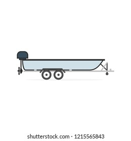 Motorboat on car trailer. Clipart image isolated on white background