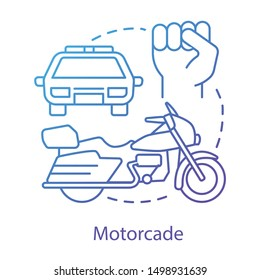 Motorcade concept icon. Vehicles procession idea thin line illustration. Police car, motorcycle and fist vector isolated outline drawing. Political transport, security cortege. Presidential escort