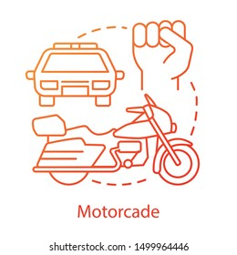 Motorcade concept icon. Vehicles procession idea thin line illustration. Police car, motorcycle and fist vector isolated outline drawing. Political transport, security convoy. Presidential escort