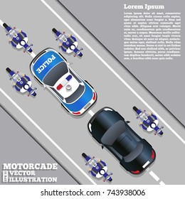 The motorcade escorted by police. View from above. Vector illustration.