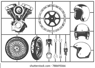 Motorcicle logo modeling elements set. Motor, wheel, chain, gearwheel, helmet, piston, wrench, spark plug. Vintage Motor Club Sign and Label set on white background. Emblem of bikers and riders.