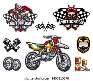Motorcross bike and equipment set with mascot logo vector illustration