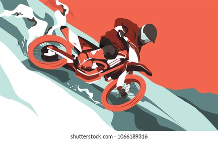 Motorcross jumping vector illustration. Extreme sport concept.