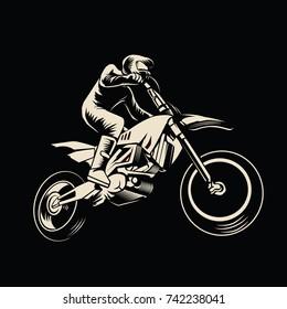 Motorcross Vector On Monochrome Style Illustration