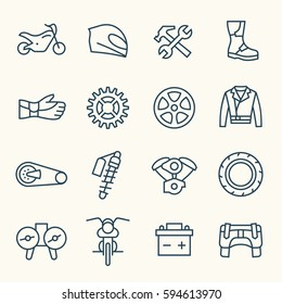 Motorcycle accessories line icon set