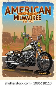 Motorcycle at American Desert Poster