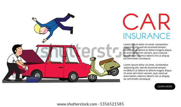 Motorcycle Back Hit Private Car Flat Stock Vector (Royalty