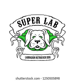 Motorcycle or biker gang style illustration of a super yellow labrador retriever dog wearing a green cape front view with ribbon or scroll with text Super Lab on isolated background in retro style.