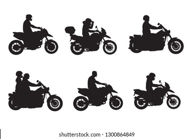 Motorcycle bikers riders silhouettes shadows set