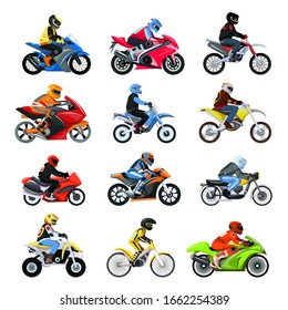 Motorcycle bikers set vector illustration isolated on white, different type motorcyclist characters on sport motorbikes. Motocross and racing competition. Collection brutal male bikers in helmets.