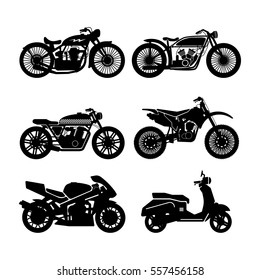 Motorcycle black icons set. vector illustration, on a white background