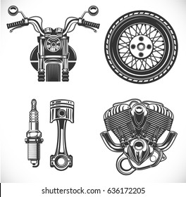 Motorcycle black isolated icon set with bike, wheel, piston, spark plug and engine, vector illustration
