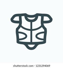 Motorcycle body armor icon, motorcycle full body armor jacket vector icon