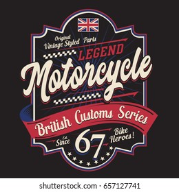 Motorcycle british typography, tee shirt graphics, vectors