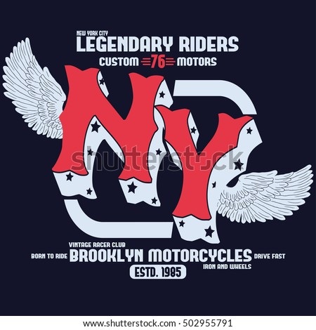 c30f09357 Motorcycle Brooklyn t-shirt print, new york motorbike tee graphic, biker  fashion graphic