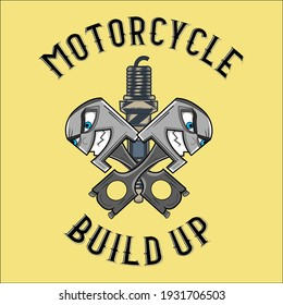 Motorcycle build up artwork illustration