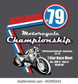 Motorcycle Championship vector t-shirt design.