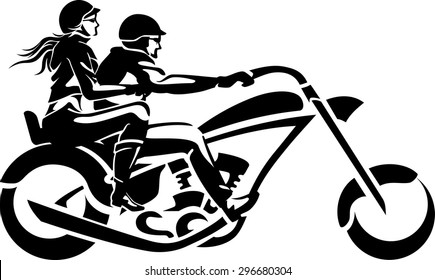 Motorcycle Chopper Couple Ride