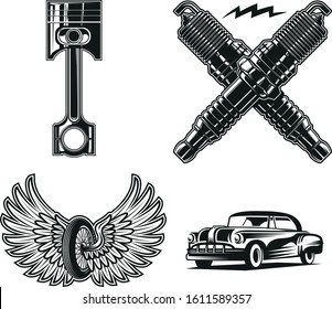 motorcycle club biker gang symbols black and white retro tattoo design