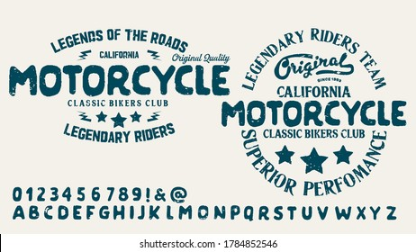 Motorcycle club community logo design.Decorative  font. Letters, Numbers and Symbols. Vector Illustration.