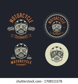 motorcycle costum vintage logo design template vector