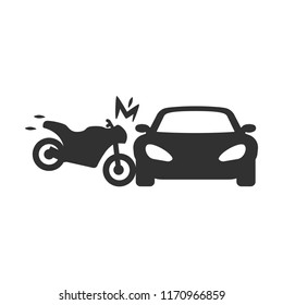 motorcycle crashed into the car, the accident. monochrome icon