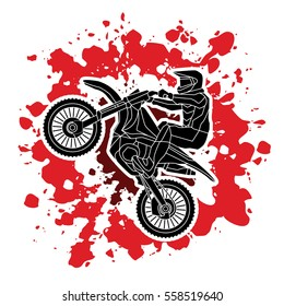 Motorcycle cross jumping designed on splatter blood background graphic vector