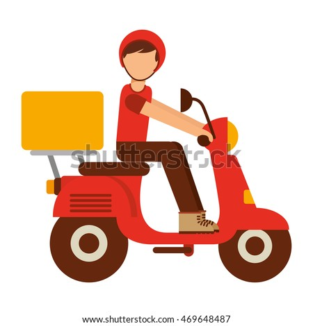 Motorcycle Delivery Food Isolated Icon Vector Stock Vector ...