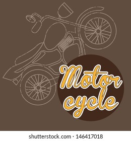 motorcycle design over brown background vector illustration