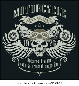 Motorcycle Design Template Logo. Motorcycle Skull rider. Motorcycle Biker T-shirt, Motorcycle Racing Typography Graphics. Bikers wear. vector illustration, well layered