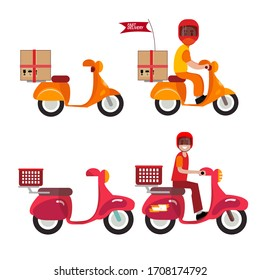 motorcycle designs and people with cartoon style. fast shipping design. delivery of goods.  Vector illustration, vector editable.
