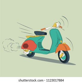 a motorcycle drawn with cute colors