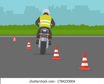 Motorcycle driving lesson. Learner motorcyclist practising to turn while riding a bike. Flat vector illustration template.