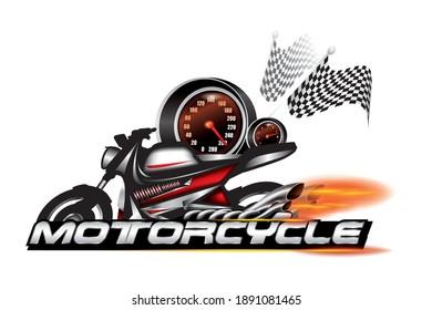 Motorcycle emblem, logo design vector.