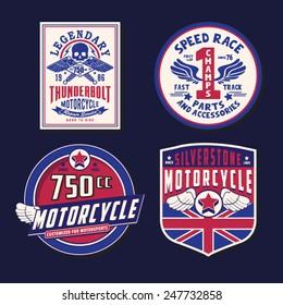 Motorcycle emblem sets typography, labels, tee shirt graphics, vectors