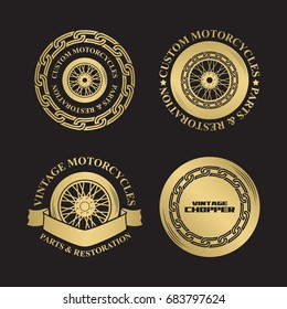 Motorcycle emblems in gold silhouette style, logo with wheel and chain