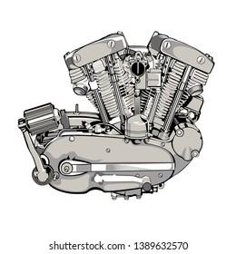 motorcycle engine illustration art