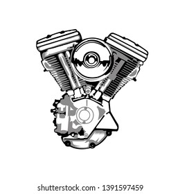 a motorcycle engine illustration art