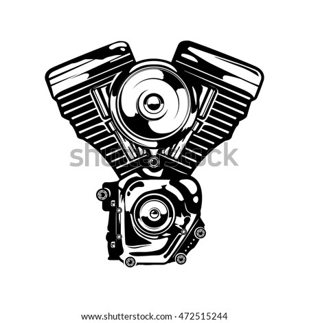 Motorcycle Engine Monochrome Colors Vintage Retro Stock Vector