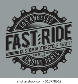 motorcycle engine parts typography, t-shirt graphics, vectors
